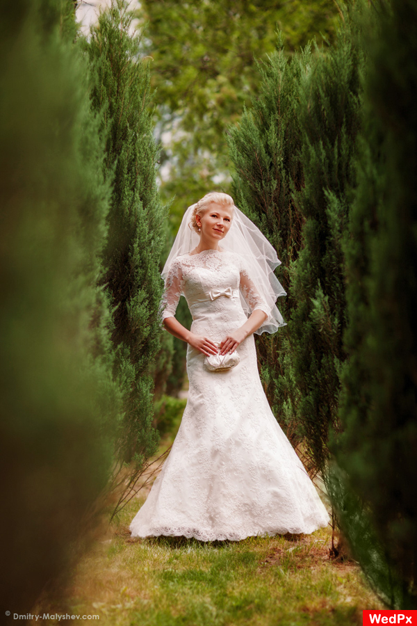 Wedding day. Bridal portrait in Neskuchny Garden.